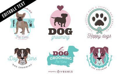 Cão grooming conjunto de modelo de logotipo