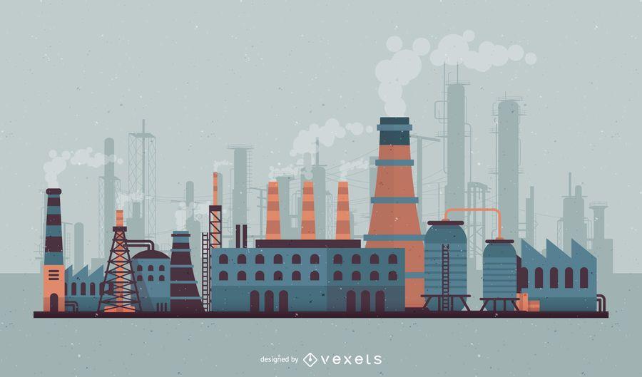 Ilustração de horizonte de fábrica