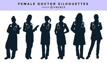Female doctor silhouette set