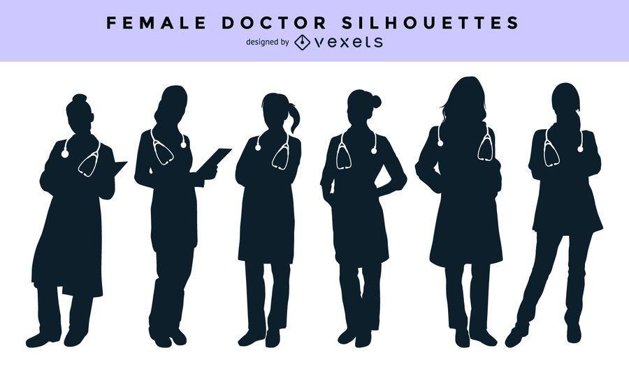 Conjunto de silhueta feminina médico
