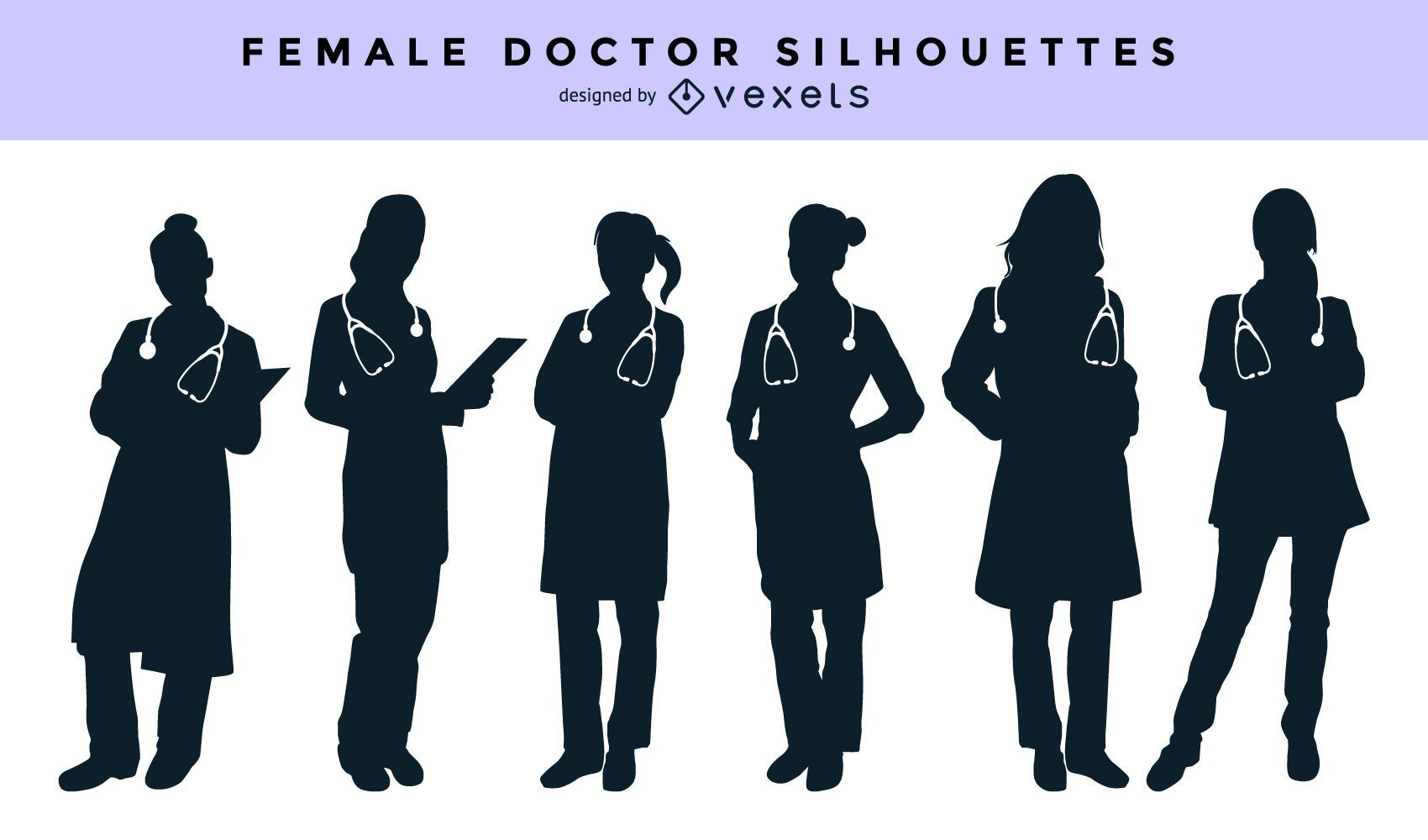 Female doctor silhouette set