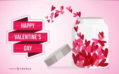 Tarjeta de San Valentín con corazones en tarro