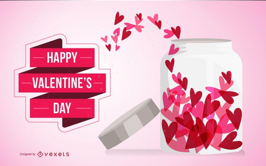 Cartão de dia dos namorados com corações em jar