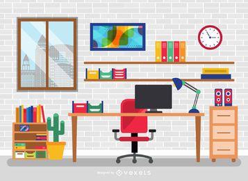 Escritorio de oficina plana con elementos