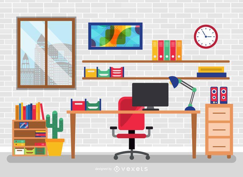 Escritorio de oficina plana con elementos descargar vector for Empresa de muebles de oficina