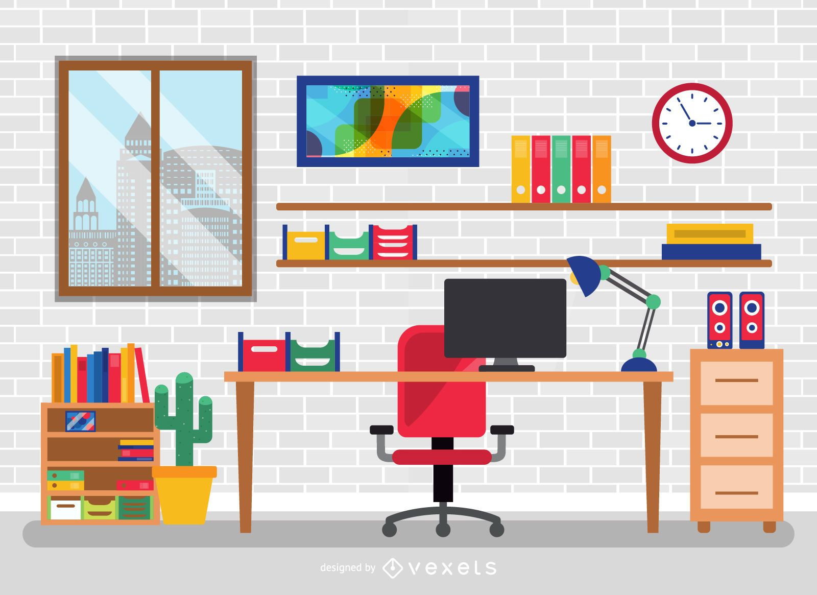 Flat office desk with elements