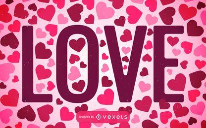 Liebeshintergrund gefüllt mit Herzen