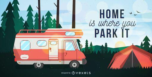 Autocaravana en postal de camping