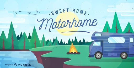 Camping con ilustración de autocaravana