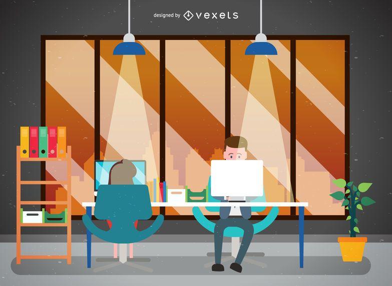 Ilustração do espaço de trabalho ou escritório