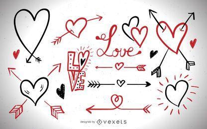 Conjunto de elementos de amor romántico