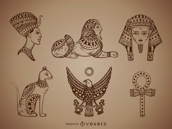 Egypt illustrations set