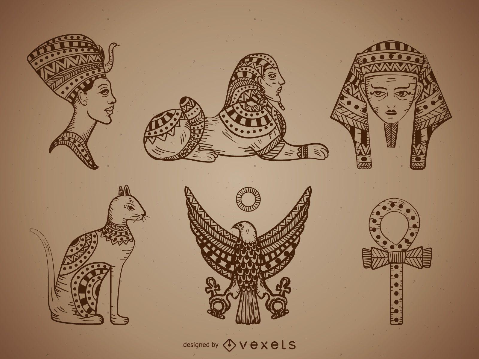 Conjunto de ilustraciones de egipto