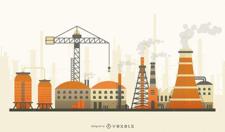 Fábrica, com, fumaça, apartamento, skyline, ilustração