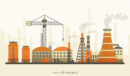 Fábrica con humo plano horizonte ilustración