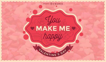 Dia dos Namorados romântico crachá