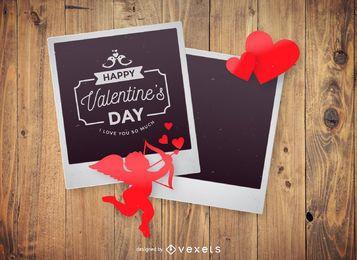 Maqueta de polaroid de San Valentín