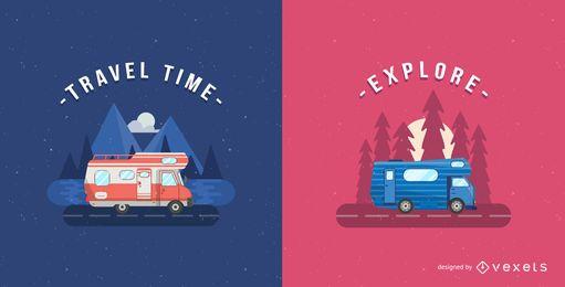 Conjunto de ilustración de autocaravana minimalista