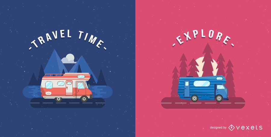 Minimalist motorhome illustration set