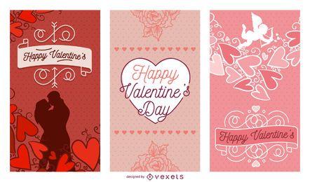 Conjunto de carteles de San Valentín.