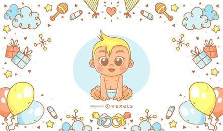 Cartaz desenhado mão da festa do bebé