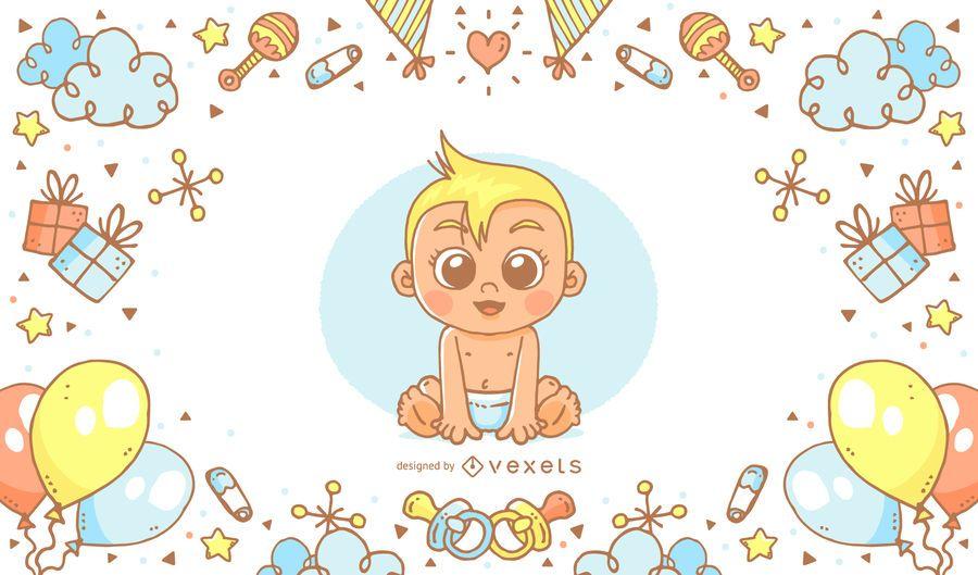 Cartaz de chuveiro de bebê desenhado de mão