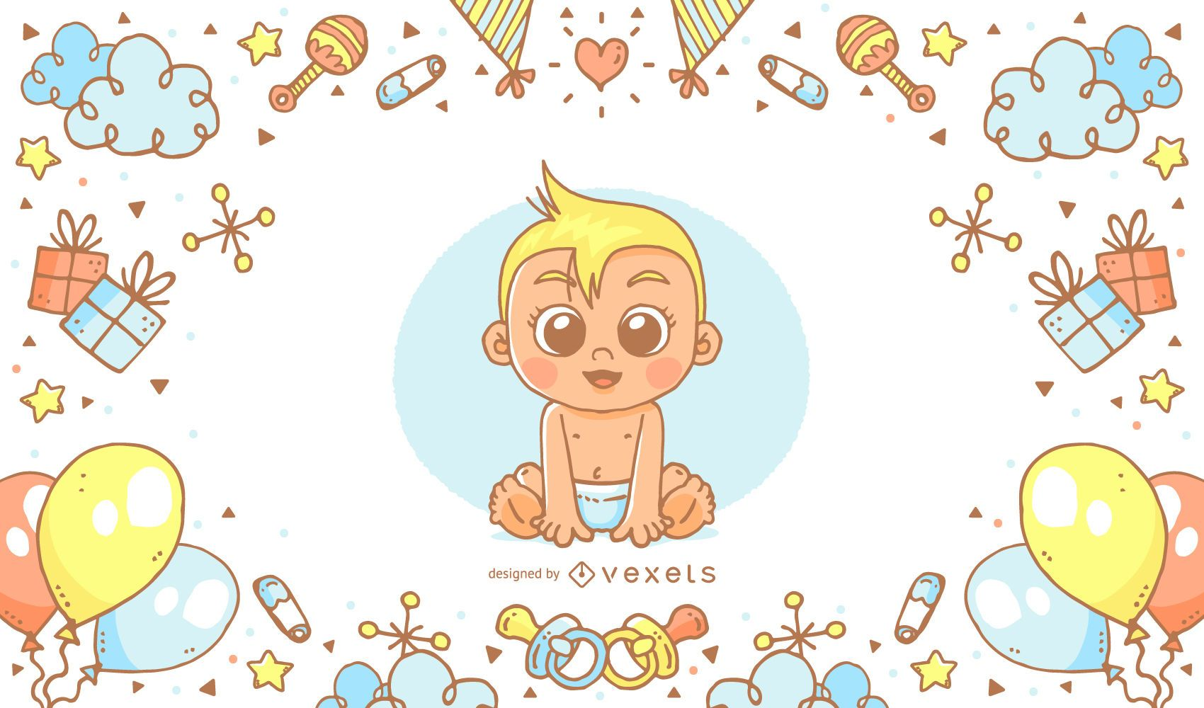 Cartel de baby shower dibujado a mano