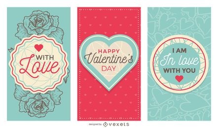 Lindo conjunto de banner de San Valentín