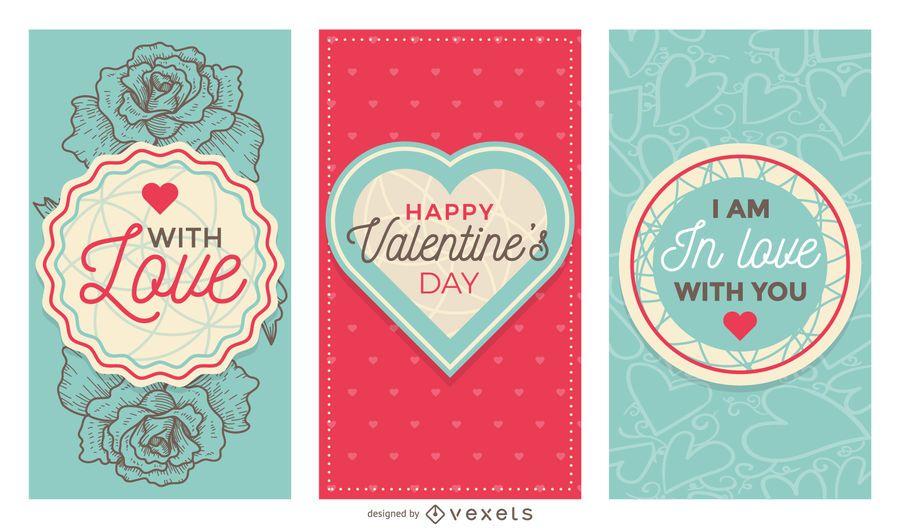 Lindo conjunto de banners del día de San Valentín