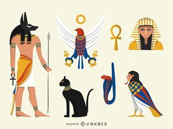 Conjunto de ilustrações de Egito plana