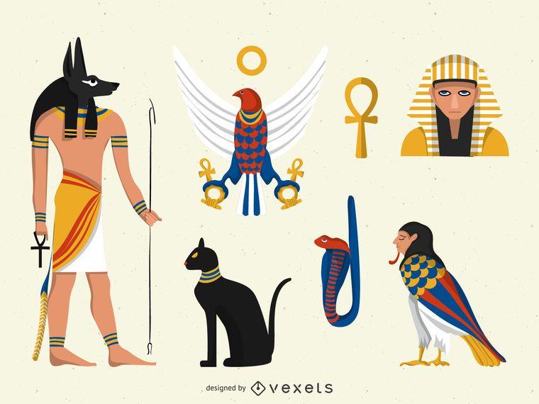 Flache Ägypten Illustrationen eingestellt