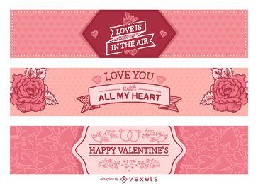 Pink Valentine's Day sign set