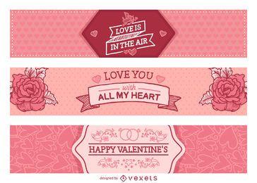 Set de letreros rosa de San Valentín