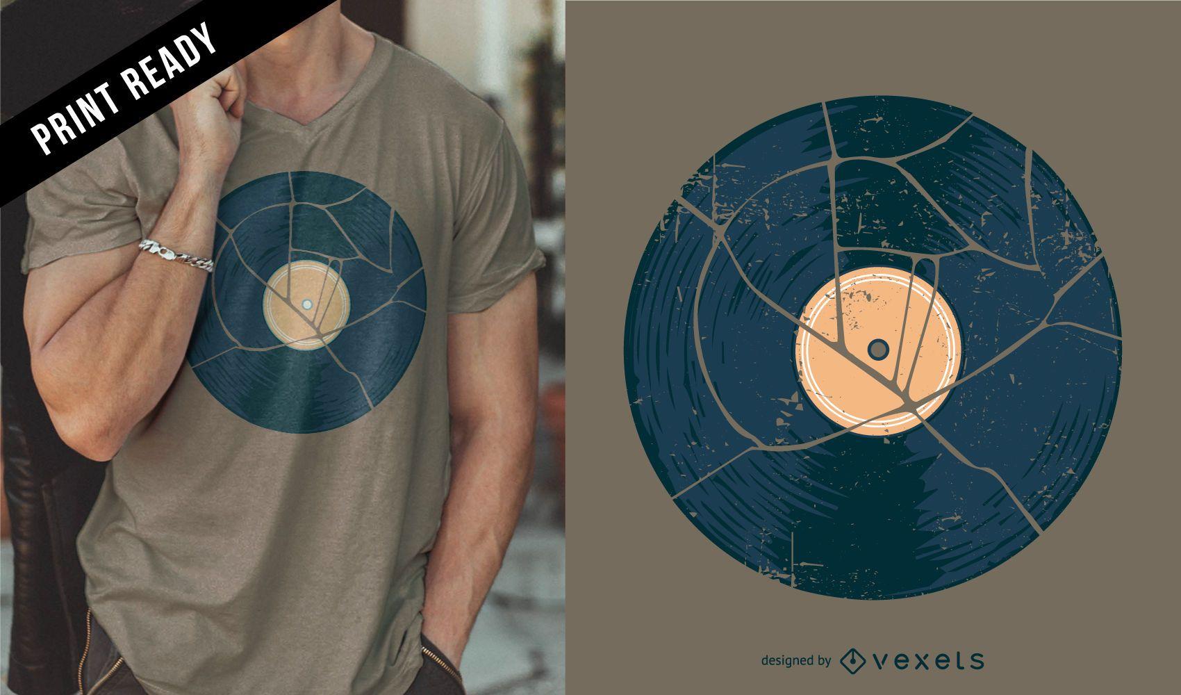 Broken vinyl t-shirt design