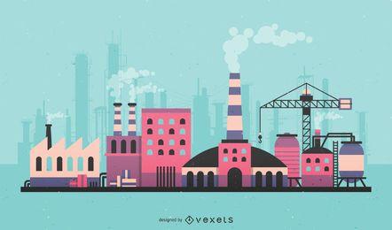 Ilustración colorida del horizonte de la fábrica