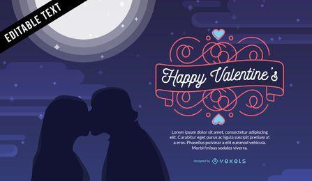 Tarjeta de silueta de pareja de San Valentín
