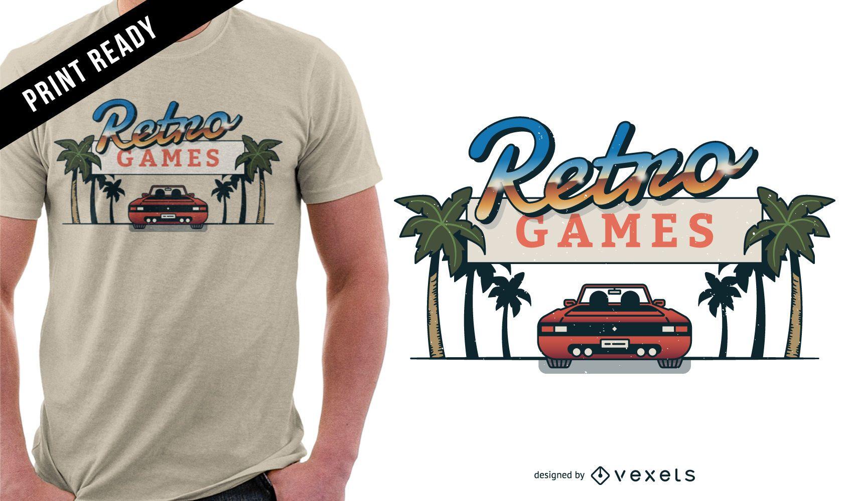 Diseño de camiseta de juegos retro.