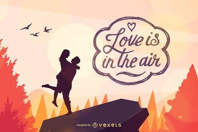 Ilustración feliz pareja de San Valentín