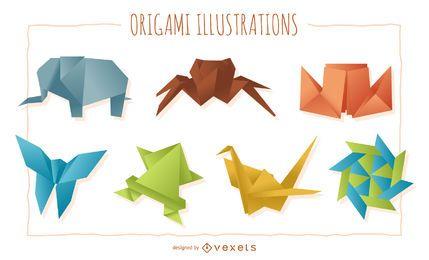 Conjunto de figuras de origami