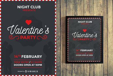 Party Flyer Design des Valentinsgrußes