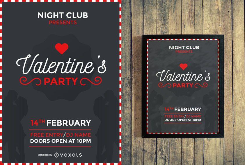 Valentine's party flyer design