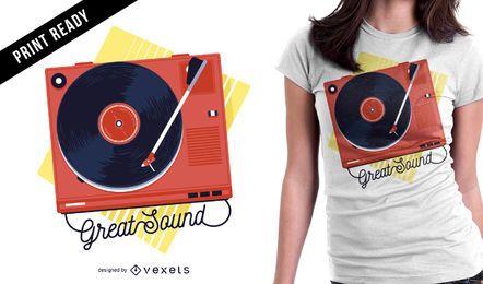 Design de t-shirt de toca-discos vintage