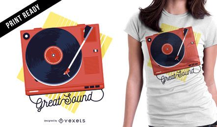 Diseño de camiseta giradiscos vintage