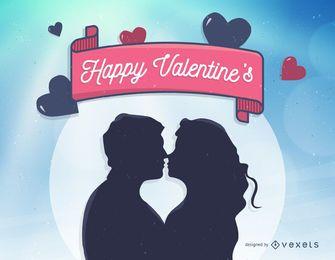 Ilustração do feliz Valentim com o casal