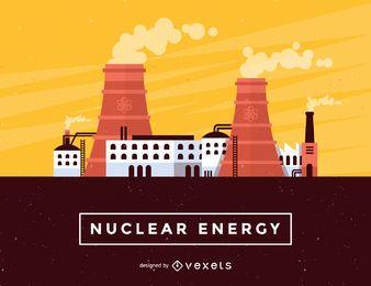 Ilustração da skyline da energia nuclear