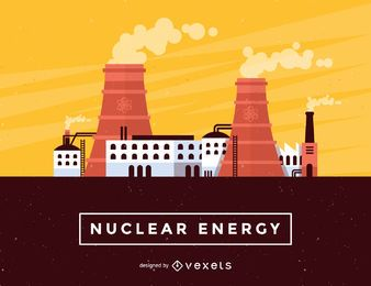 Nuclear energy skyline illustration