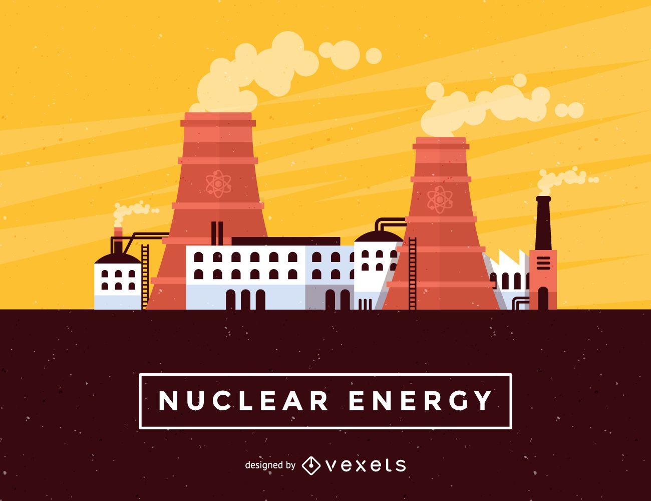 Nuclear energy skyline illustration