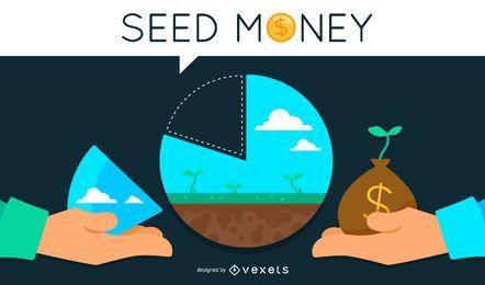 Ilustración del concepto de dinero semilla