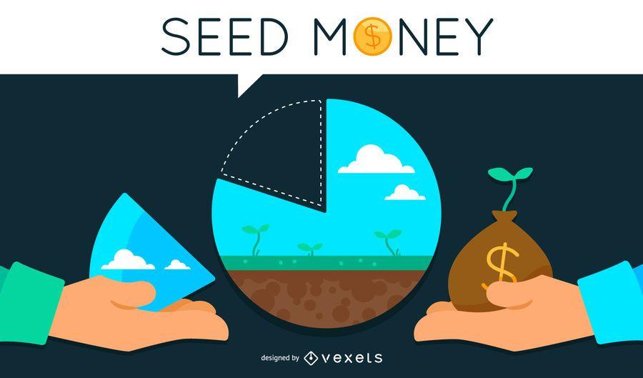 Ilustração do conceito de dinheiro semente