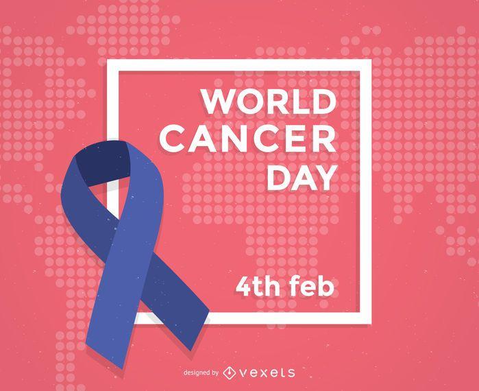 Fita do cartaz do Dia Mundial do Câncer